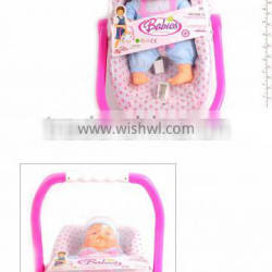 2014 Hot selling Baby Doll Baby Basket Play Toy set with certificate