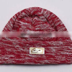 Red mixed white bulk beanie cheap with custom label,polyester beanie hats