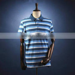 100% polo t-shirt biue and white mens polo collar striped t shirt design