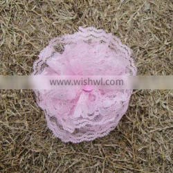 Fancy pink flower lace artificial vintage lace flowers handmade