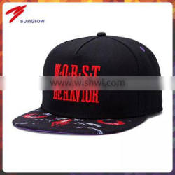 wholesale customize design your own logo black snapback caps with red color embroidery