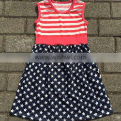 2016 children July 4th dress sweet girls stripe frock design sleeveless white and red giggle moon remake dress