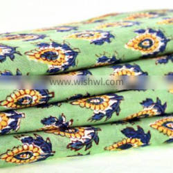Indian 2017 Hand Block Printed Fabric Handmade Dress Making Floral Design Fabric by Meter