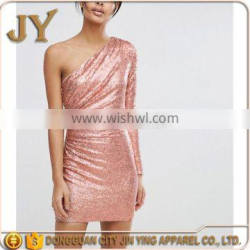 Dongguan Manufacturer Women Bodycon Dress Custom Baby Pink Apparel Sexy One Shoulder Party Dress Wholesale