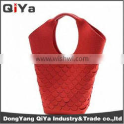 Wholesale Promotional Foldable PU Red Shopping Bags Grocery Vegetable Supermarket Shoping Bag Yiwu