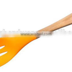 F01-7 silicone slotted spoon, silicone slotted soup spoon with wooden handle