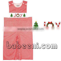 Nice JOY ans X-mas tree hand smocked boy longall