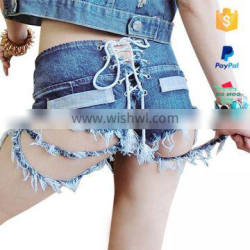 Sexy Ripped Women Wholesale Color Denim Shorts