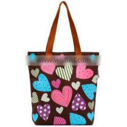 2014 new arrival colouful heart logo women canvas bags beach bags wholesale price