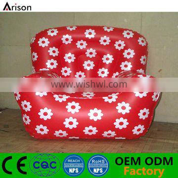 Inflatable red flower sofa chair with flowers printed for inflatable furniture