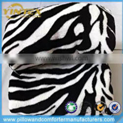 Promotional top quality black white zebra printed coral fleece blanket (Standard)
