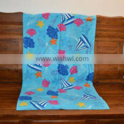Wholesaler Beach Towel Printed Blue Color Cotton Beach Towel Manufacturer