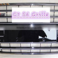 black mesh chromed frame chromed rings for 2013 Audi A6 C7 S6 Grille
