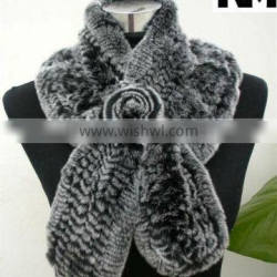 100% Knitted Rex Rabbit Fur Scarf in high quality