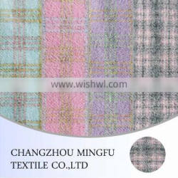 tartan check and plaid woolen fabric, overcoat wool tweed fabric for women,wool and viscose blend fabric