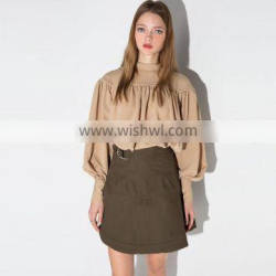 2016 New Spring Latest Fashion Solid Puff Long Sleeve Blouses Pleated Design HDY-15124G260