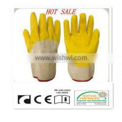 CR Latex coated gloves,cotton woven line,canvas cuff,open back
