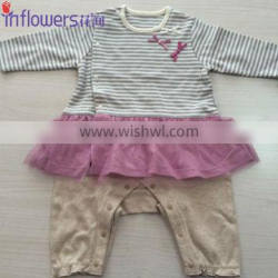 2015 kids summer wear wholesale baby girl's ware with lace dress in 100% soft cotton material
