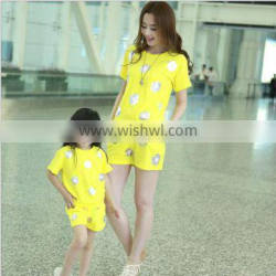 2014summer new Parent-child outfit sundress Fashion sunflower short sleeve Family suits