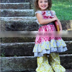 2017 kids boutique clothing sets girl sweet ruffle clothing baby girl cotton dress outfit