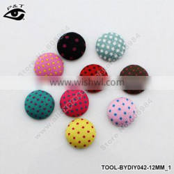 12mm Semicircle Polka-dot Printing Covered Buttons Flatback Fabric Button Accessories for Craft