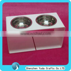 White Pet Feeder With Stainless Bowls Customize Dog Cat Feeding Bowl