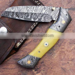 A MARVELOUS QUALITY WITH ORIGINAL YELLOW G-10 HANDLE HANDMADE DAMASCUS STEEL HUNTING / FIGHTING FOLDING KNIFE