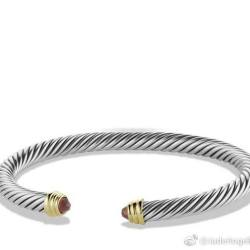 925 Silver Jewelry 5mm Cable Classics Bracelet with Garnet and Gold(B-048)