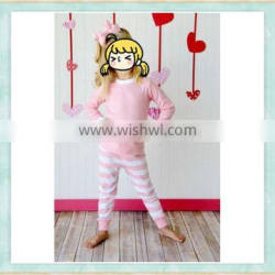 valentine's pink and white kids pajama set wholesale children clothing usa wholesale baby clothes