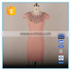 Women Sexy Backless Bodycon Slim Fit Dress With Crystal Beaded2016