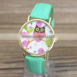 July new arrived colorful women vintage leather strap owl watch