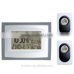 Wireless Weather Station, Wall/Table Clock Weather Station, Weather Station hygrometer with 2 Sensors as a gift