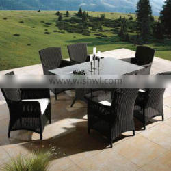 Foshan factory outdoor aluminum wicker rectangle dining table with 6pcs chairs