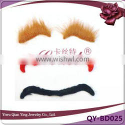 costume fake color moustache and artificial eyebrow