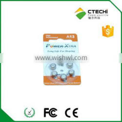 1.4V A13 Zinc-air button battery in Blister Card for hearing aid