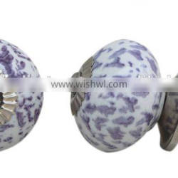 Distress spot Painted Ceramic Knob with Metal Fittings - Ready to use