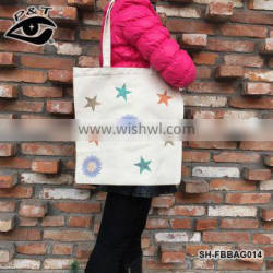 New Arrival Customized Star Design Transfers On Canvas Fabric Tote Bags