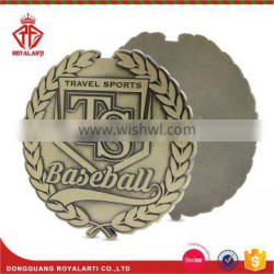 Antique Brass Travel Sport Badge with Wreath for Baseball