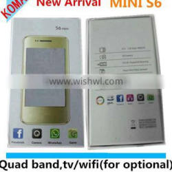 KOMAY NEW Arrival 3.5 inch pda capacitive touch screen mini s6 TV WIFI(for optional) dual sim cards FM cell phone