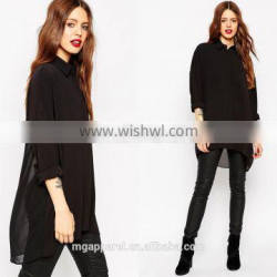 Ladies western blouse Oversized fit point collar fashion lady chiffon blouse