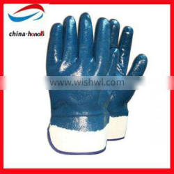 blue nitrile coated gloves/nitrile chemical resistant glove