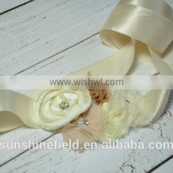 Ivory sash Baby Girl Sash and Matching Headband Photography Props