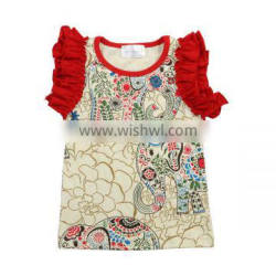 Wholesale printed t-shirts hot summer baby girls cotton T-shirt toddler girls costume
