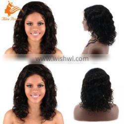 7A 8A Natural Black Short Brazilian Virgin Human Hair Bleached Knots Lace Front Full Lace Wig For Black Women