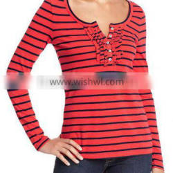 Womens striped long sleeve t shirt with ruffled placket