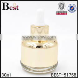 1oz cosmetic gold colored luxury serum dropper glass bottle for essential oil manufacturer
