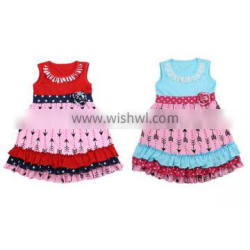 Girls Boutique Clothing Baby Clothes Arrow Printing Pink Dress Wholesale Kids Clothes Pettidress For Toddler Girl