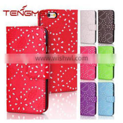 magnetic leather wallet flip bling diamond phone cover for iPhone 6 case