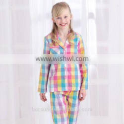 2015 top fashion 100% cotton home Lattice sleepwear spring summer long sleeve Turn-down Collar kids pajamas