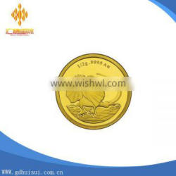 High quality cheapest customized engraved logo golden coin without MOQ